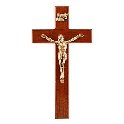 "Cherry Finish Crucifix 10"""
