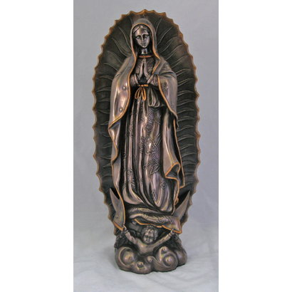 """Our Lady of Guadalupe in Cold-Cast Bronze Statue, 19.5""""."""