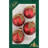 """2 5/8"""" Ball Shapes with Gold Floral Drapes, Red Velvet"""