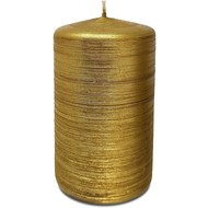 "Gold Unscented Brushed Metallic Pillar Candles 2.4"" X 4"""