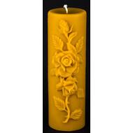 "100% Beeswax Large Pillar Candle English Rose, 3"" base x 9"" tall"