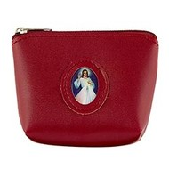 Rosary Case With Medallion Red