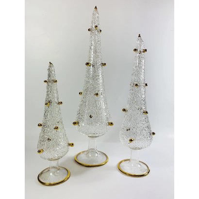 Fair Trade, Made in Egypt,  Blown Glass Tabletop Christmas Tree with Gold - Small