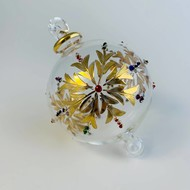 Fair Trade,  Made in Egypt, Blown Glass Ornament - Gold Snow Flake with Colors