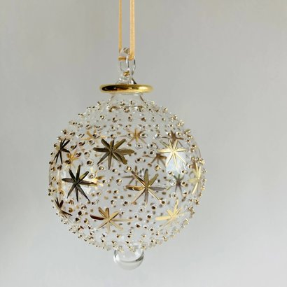 Fair Trade,  Made in Egypt, Blown Glass Ornament - Gold Stars & Dots
