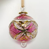 Fair Trade,  Made in Egypt, Blown Glass Ornament - Pink Carousel