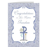 Grandson's Baptism Greeting Card
