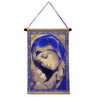 Madonna and Child In Blue - Hanging Tapestry Icon 17 1/4 Inch Tall, Including Hanger Part