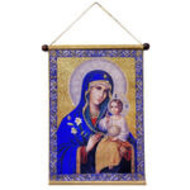 Eternal Bloom Virgin Mary Icon - Hanging Tapestry Icon