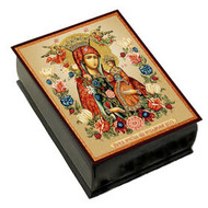 "Virgin Mary Christ Icon Box Wooden 3/4 "" x 2 1/2 """
