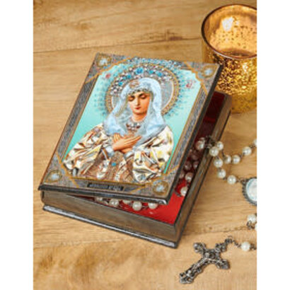 Virgin Mary Extreme Humility - Keepsake Rosary Prayer Beads Wooden Russian Icon Box