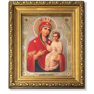 """Virgin the Deliverer Gold Framed Icon with Crystals and Glass 8 1/4""""x7 1/4"""""""