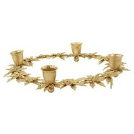 Gold Glittered Metal Poinsettia Taper Candle Ring