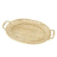 Antique Filigree Oval Metal Tray with Cast Handle