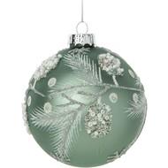 Blown glass ball ornament, pale matte turquoise