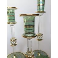 Long Stem Blown Glass Candle Holder- Green, Short