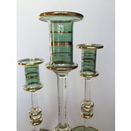 Long Stem Blown Glass Candle Holder- Green, Tall