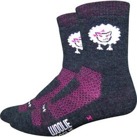 "DeFeet DeFeet Woolie Boolie 4"" Baaad Sheep Sock: Charcoal/Neon Pink MD"