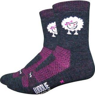 """DeFeet DeFeet Woolie Boolie 4"""" Baaad Sheep Sock: Charcoal/Neon Pink MD"""