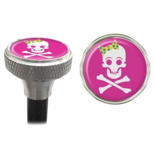 Clean Motion Clean Motion Girly Skull Valve Caps Pnk