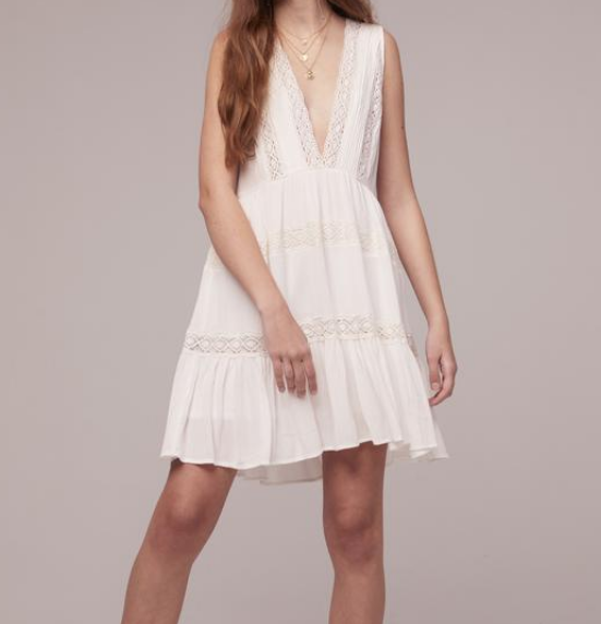Band of Gypses White Baby Doll Dress