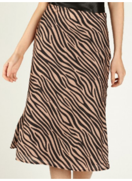Honey Punch Zebra Print Midi Skirt