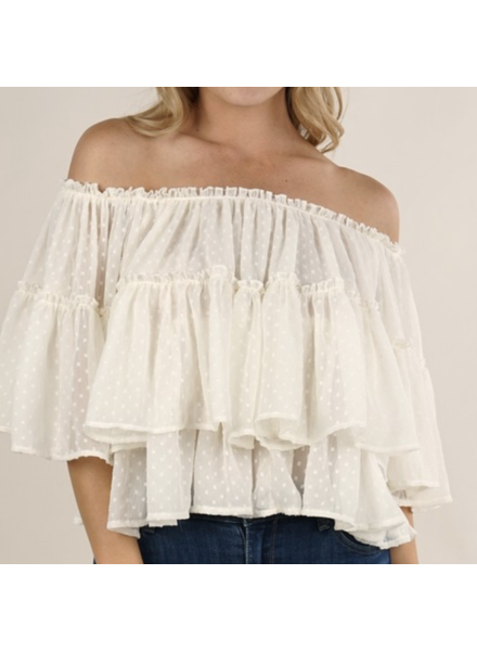 Love Stitch Dotted Off The Shoulder