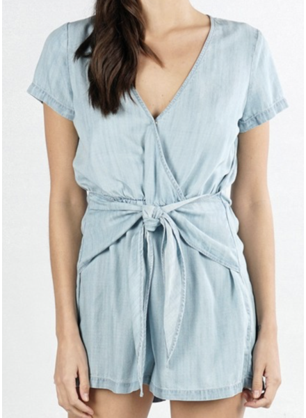Love Stitch Denim Romper
