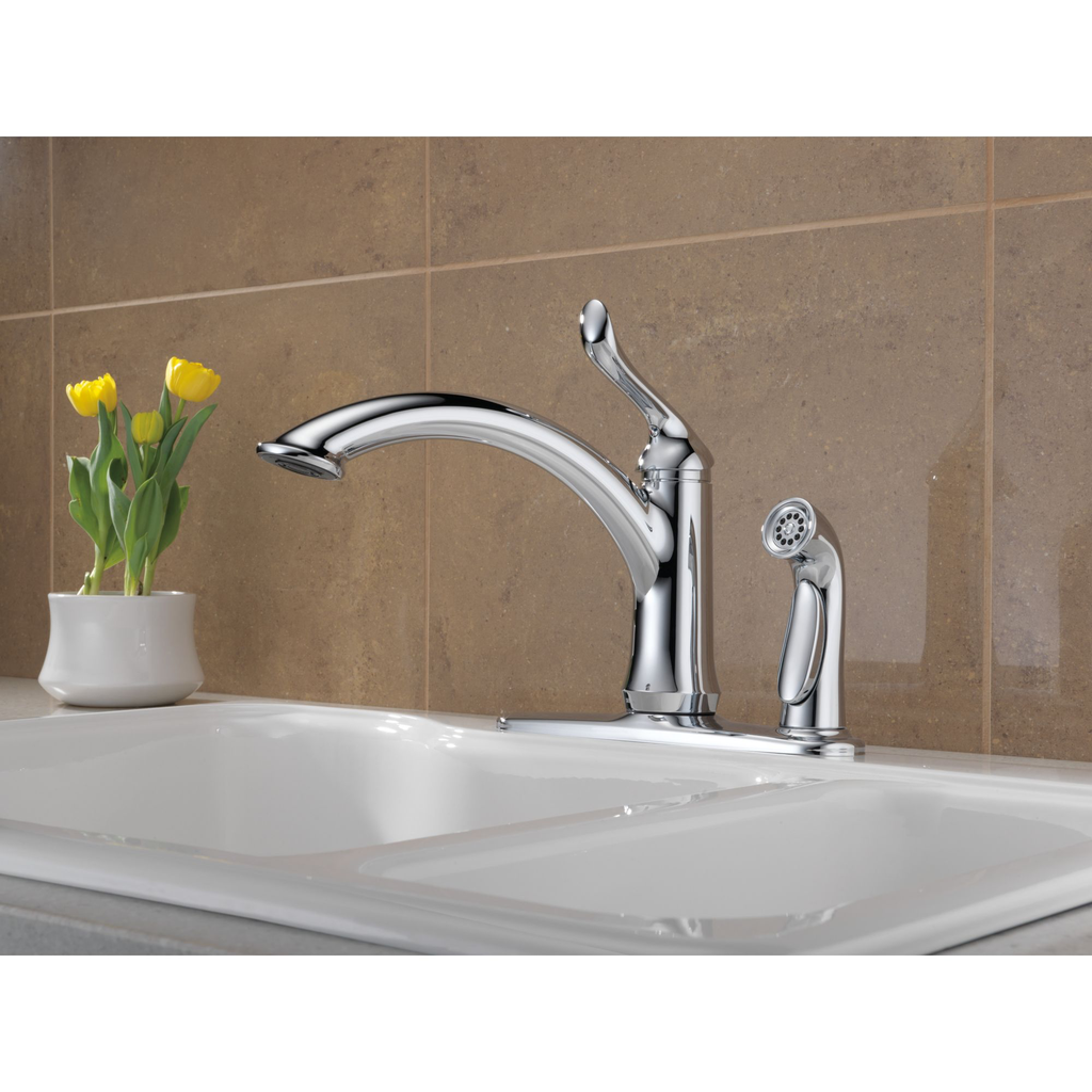 delta 3353 linden single handle kitchen faucet integral