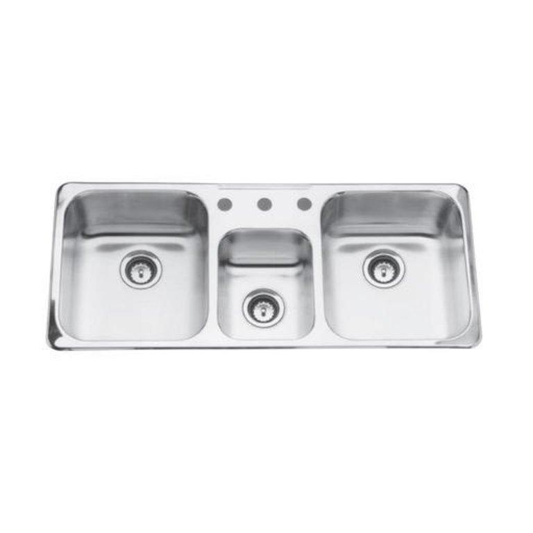 Kindred Qtcm1841 8 1 Triple Bowl Sink 20 Gauge 1 Faucet Hole Home Comfort Centre