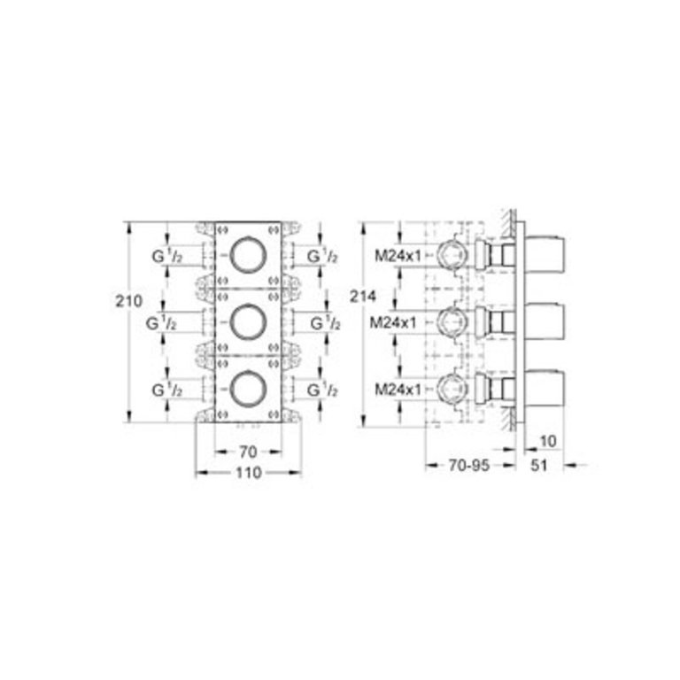 Grohtherm F Triple Volume Control Rough-In Set Grohe 35032000