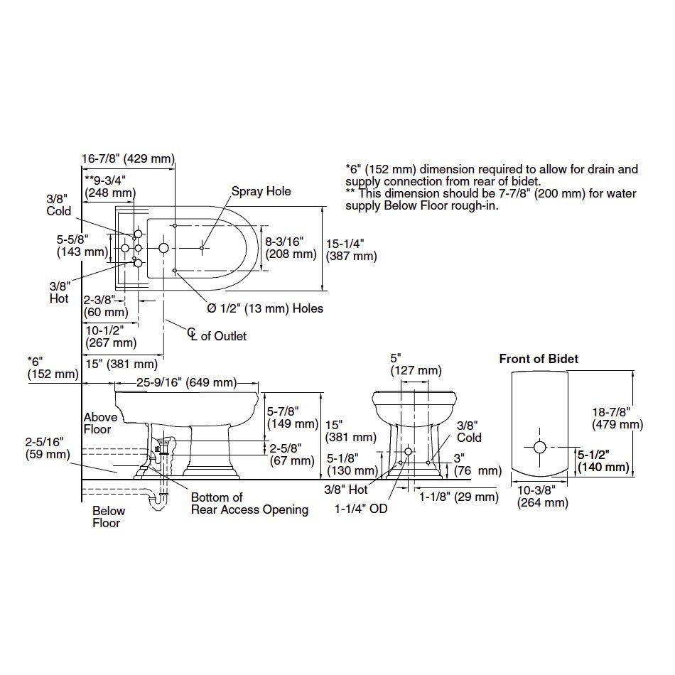 Kohler K4886 Memoirs Bidet Vertical Spray Faucet Home Comfort Centre