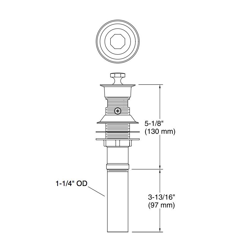 Kohler K-7127-A-SN Lavatory Drain Vibrant Polished Nickel