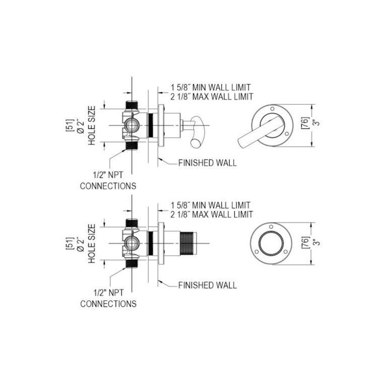 Rubinet T3XHOLCHCH H2O Three Way Diverter With Shut Offs In