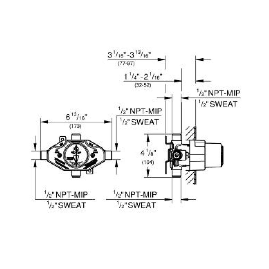 Grohe 35015001 Grohsafe Universal Pressure Balance Rough In Valve Home Comfort Centre