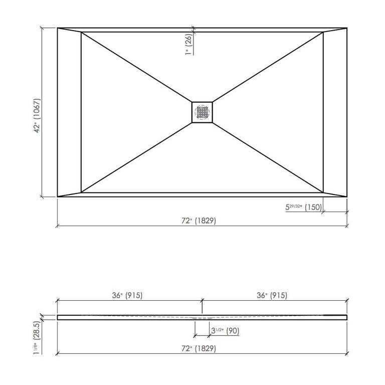 Fiora Sssp7242 Shower Base Quadro Slate 72x42 Grey Home Comfort Centre