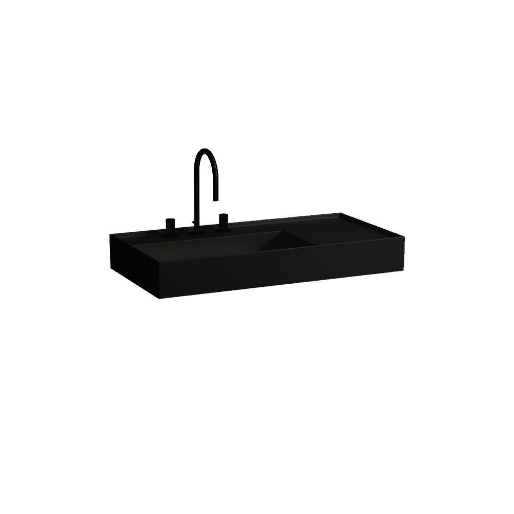 Kartell By Laufen Saphirkeramik.Laufen 810338 Kartell Washbasin Shelf Right Black One Tap Hole