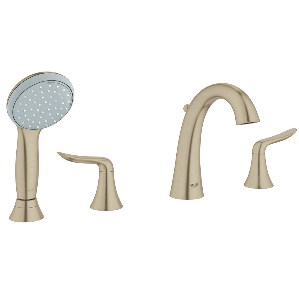 Grohe 25164en1 Agira Four Hole Roman Bathtub Faucet With Handshower Brushed Nickel