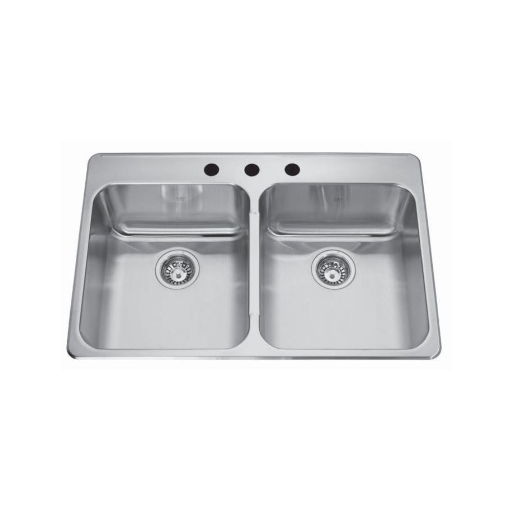 Kindred Qdla22338 33 X 22 Double Bowl Drop In Sink 3 Holes Home
