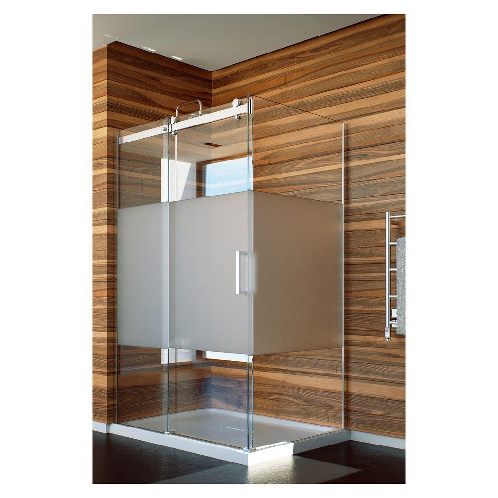 Slik Flow 6034 60 Flow Corner Shower Door Frosted Glass Chrome