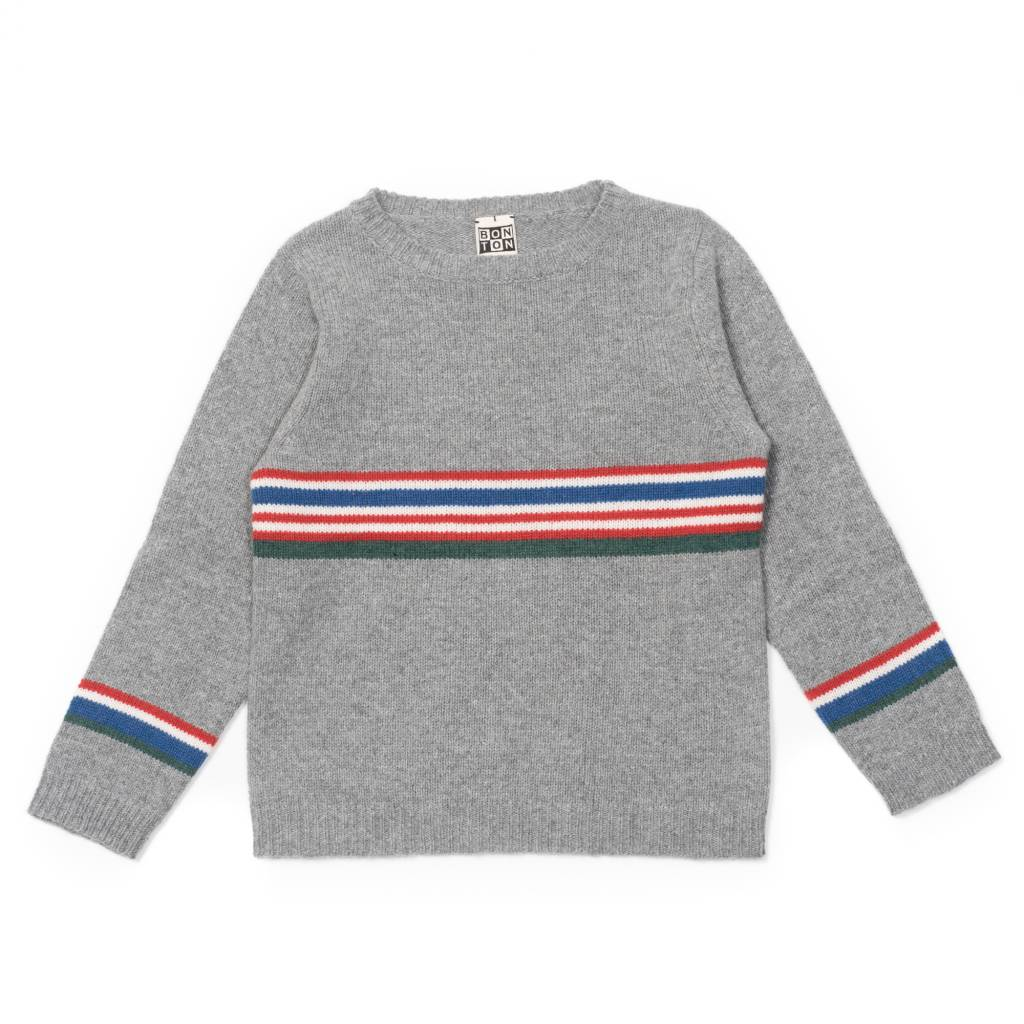 Sweatshirt Rayures Centrales Chine Gris