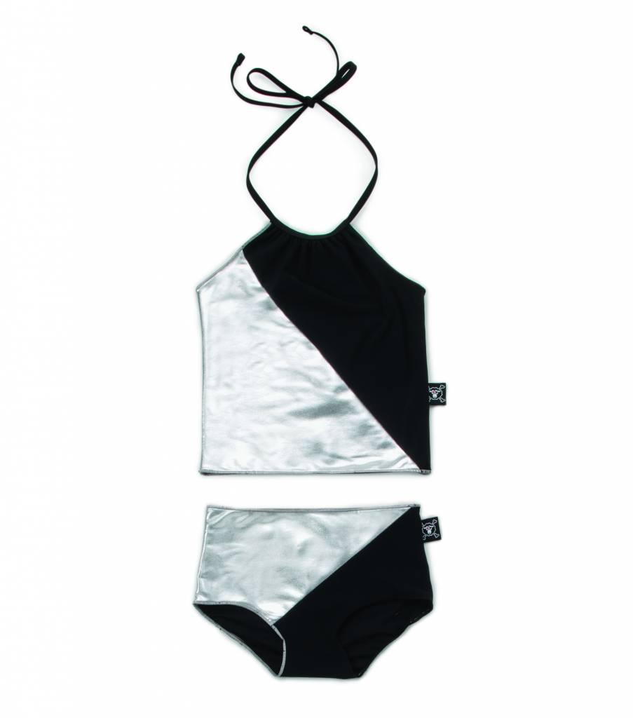 1/2 & 1/2 Collar Bikini Black/Silver
