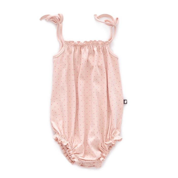 Romper with Straps Light pink/Rust dots