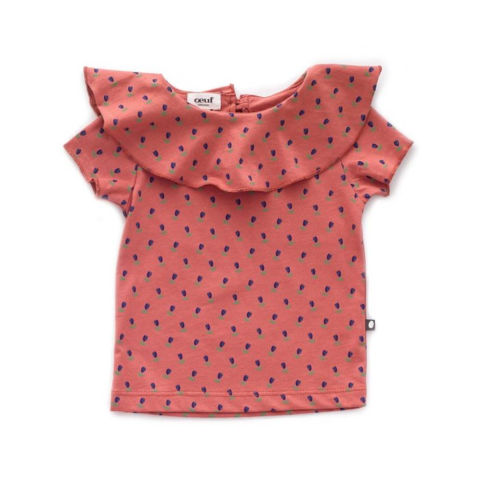 Ruffle Collar Tee Rust/Tulips