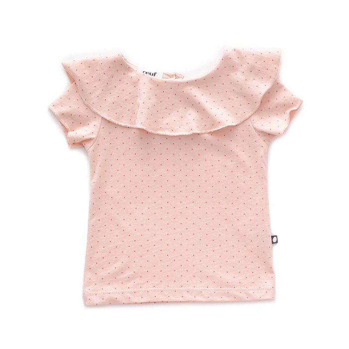 Ruffle Collar Tee Light pink/Rust dots