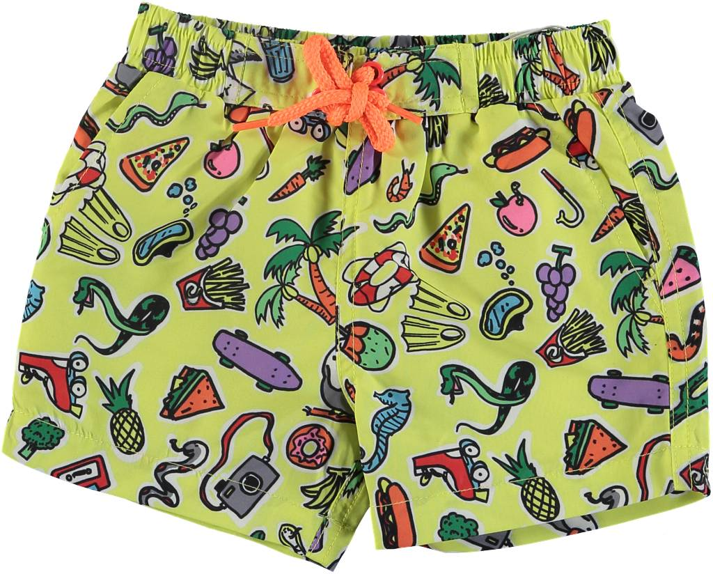 Toys and Food Swim Shorts Yellow