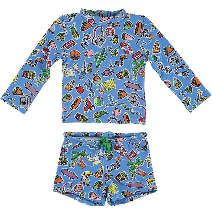 Toys and Food Rashguard Swim Set Blue