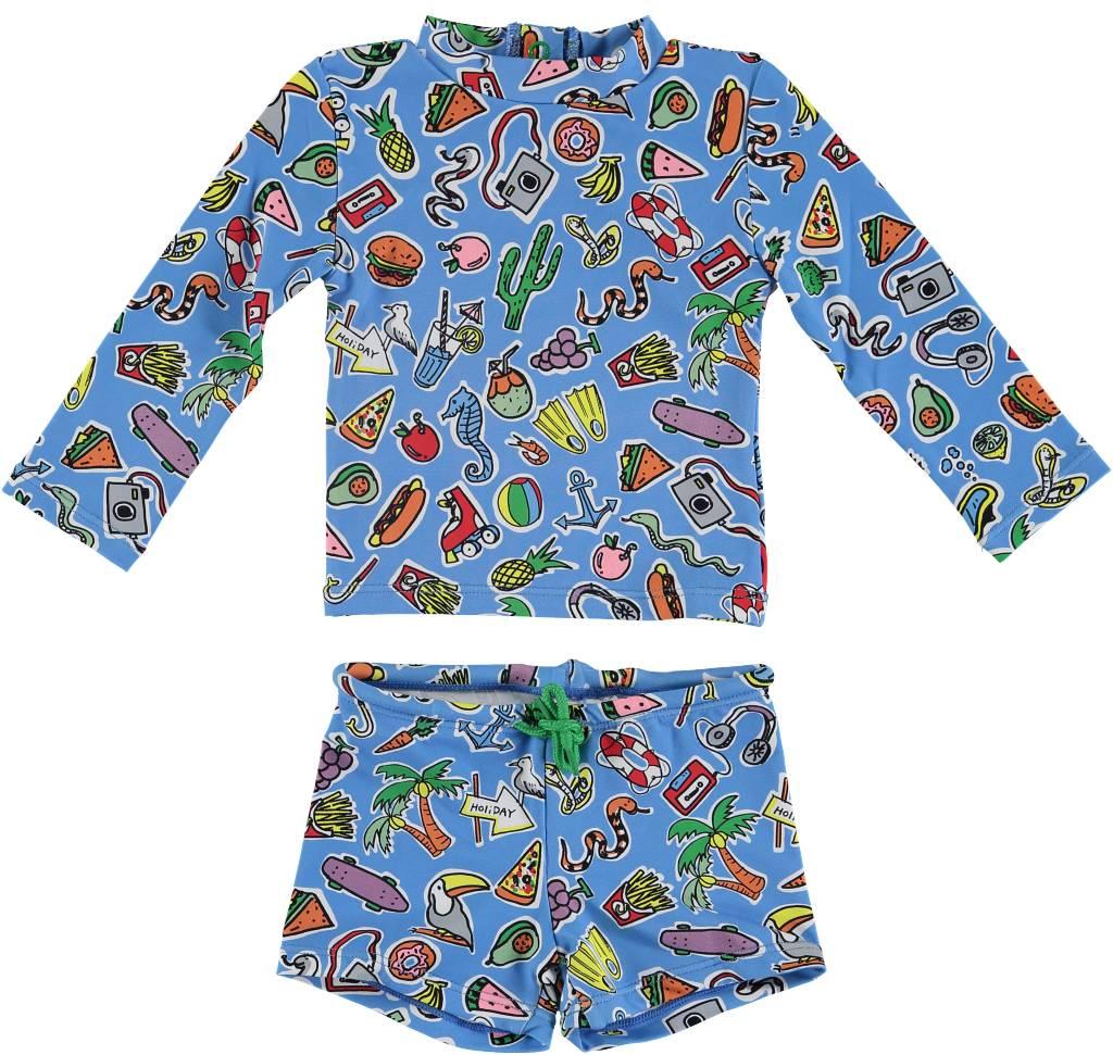 Toys and Food Rashguard Swim Set Blue