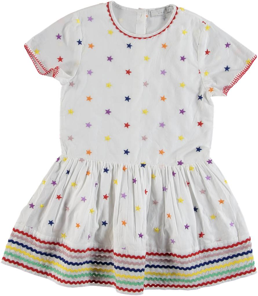 Multicolor Embro Stars Dress White