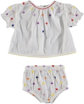Multic Embro Stars Blouse and Bloomer Set White